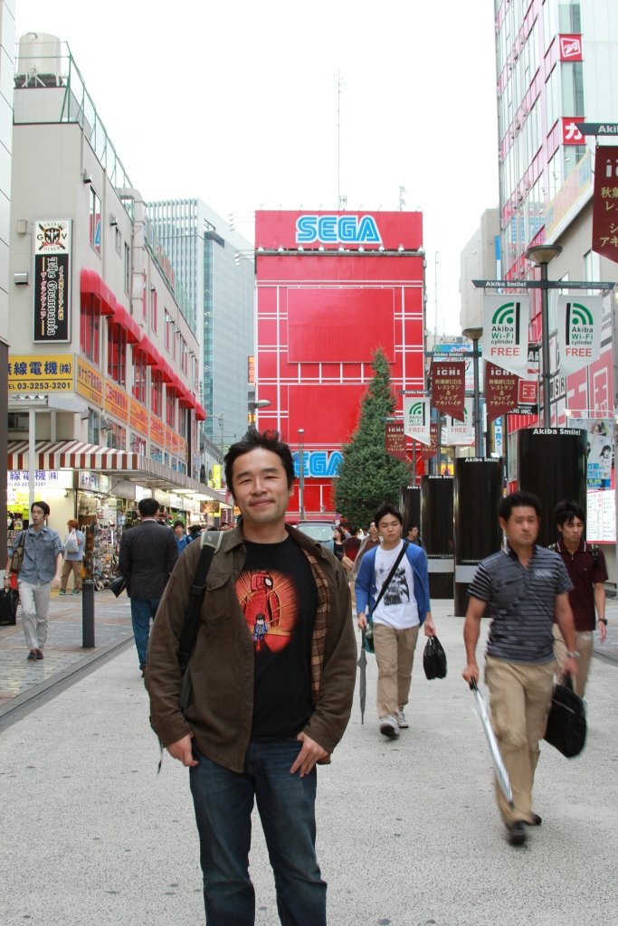 Standing in front of Sega Akihabara, the one arcade you need to visit here for fighters.