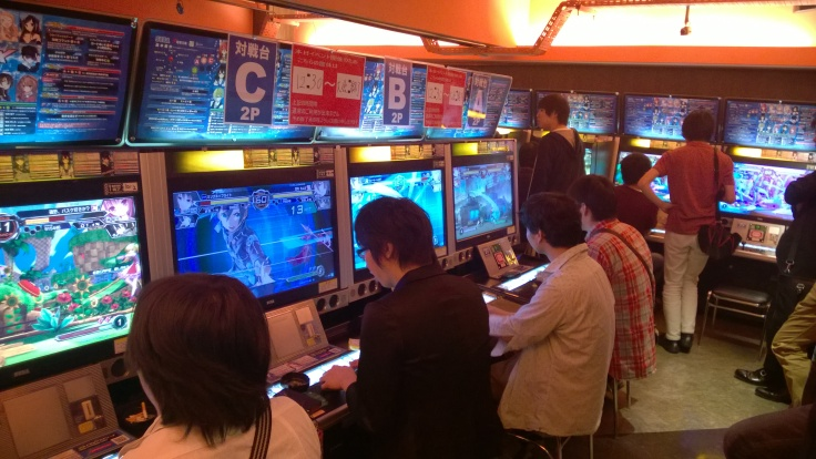 Side shot of the Dengeki Bunko Fighting Climax 3v3 Tournament.