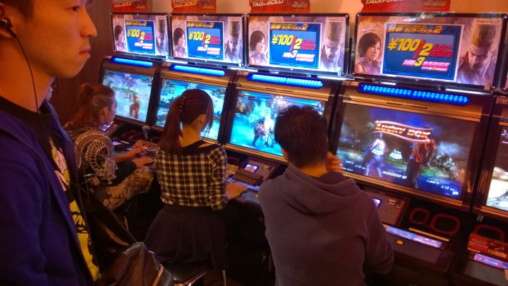I saw many Japanese girls playing...Japanese girls. This girl playing Asuka will kick your ass and many other girls in other fighting games like Street Fighter will be doing optimal Sakura combos and resets 100% of the time.